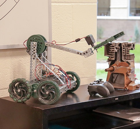 Robotics project sits on a table