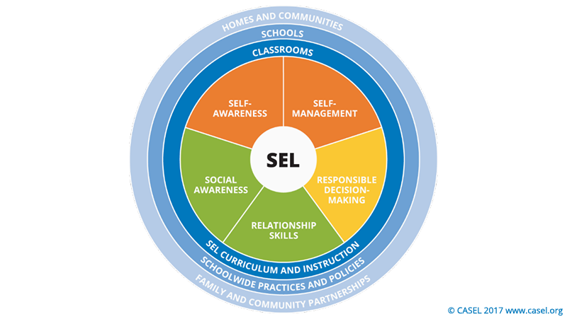 Chart showing the strategies for socail and emotional learning which are self awareness, self management, social awareness, relationship skills, and responsible decision making
