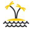Calendar Icon - beach with waves and two palm trees